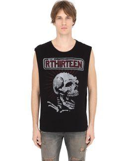 Skull Print Sleeveless T-shirt