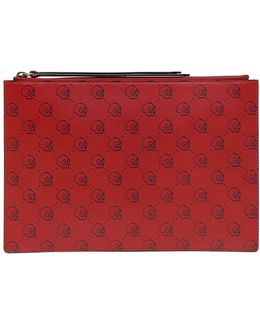 Ghost Hamlet Print Leather Clutch