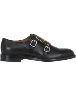 Studded Bee Leather Monk Strap Shoes