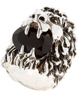 Lion Head & Swarovski Ring