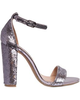 100mm Sequined Metallic Leather Sandals