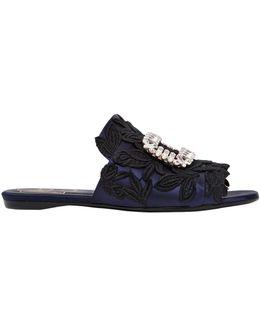 10mm Lace & Satin Slide Sandals