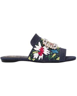 10mm Guipure Denim Slide Sandals