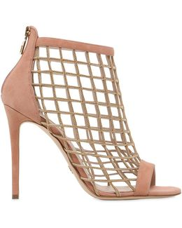 110mm Chain & Suede Cage Sandals