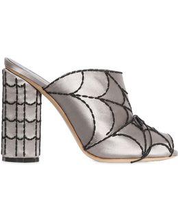 100mm Spider Web Satin Sandals
