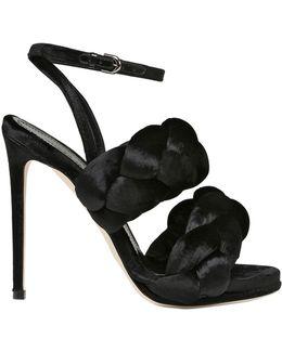 100mm Woven Velvet Sandals