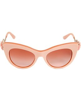 Flower Detail Cat-eye Acetate Sunglasses