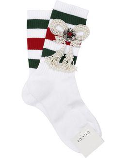 Striped Socks W/ Embellished Bow