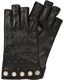 Studded Cut-off Leather Gloves