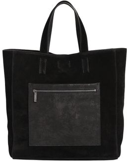 Suede Tote Bag With Leather Pocket