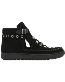 20mm Studded & Fringed Suede Boots