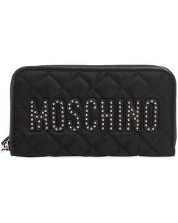 Studded Logo Quilted Zip Around Wallet