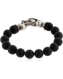 Onyx Beads & Sterling Silver Bracelet