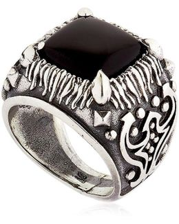 Onyx & Sterling Silver Square Ring