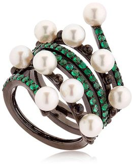 Entwined Emerald Black Gold Ring