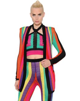 Colorful Striped Crochet Jacket