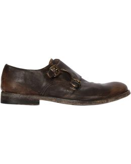 Washed Leather Monk Strap Shoes