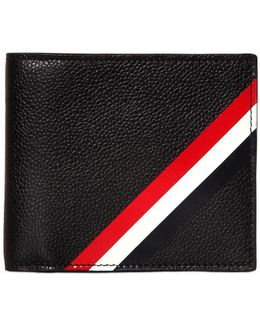 Diagonal Stripes Pebbled Leather Wallet