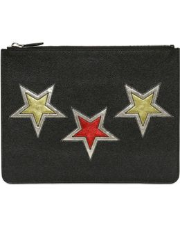 Metallic Stars Patch Leather Pouch