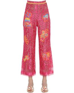 Embroidered Lace Cropped Pants