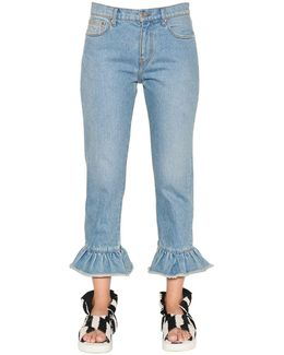 Cropped & Ruffled Cotton Denim Jeans