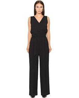 Draped Stretch Crepe Sable Jumpsuit