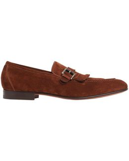 Fringed Leather Brogue Loafers