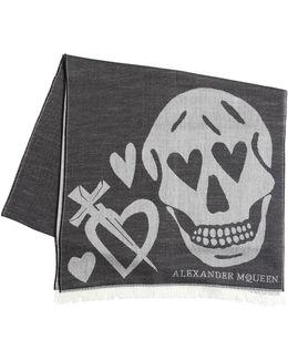 Heart & Skull Wool Blend Jacquard Scarf