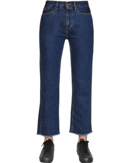 Straight Cropped Cotton Denim Jeans