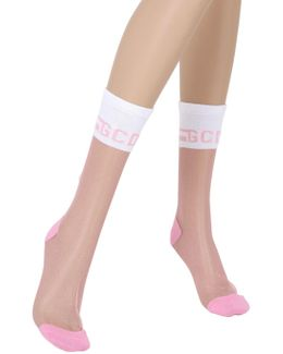 Sheer Knit Socks With Logo Detail