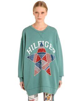 Star Patchwork Cotton Sweatshirt