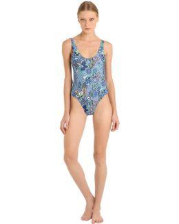 Cactus Printed Denim Effect Swimsuit