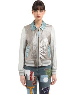 Laminated Leather Bomber Jacket