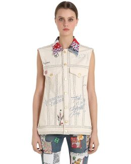 Patchwork Cotton Denim Vest