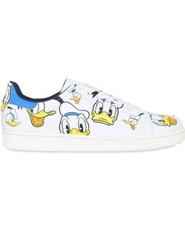 10mm Donald Duck Print Leather Sneakers