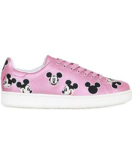 10mm Mickey Metallic Leather Sneakers