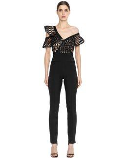 Lace Ruffle One Shoulder Jumpsuit