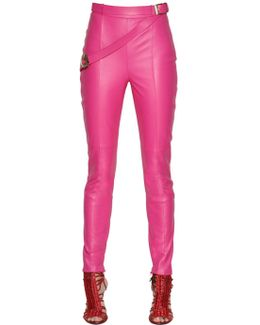 Skinny Belted Nappa Leather Pants