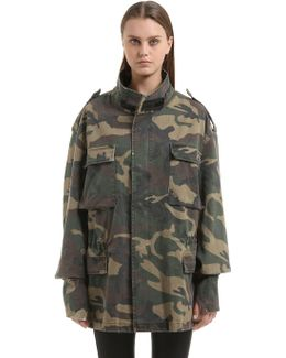 Oversized Camouflage Canvas Field Jacket