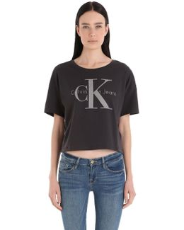 True Icon Cropped Cotton Jersey T-shirt