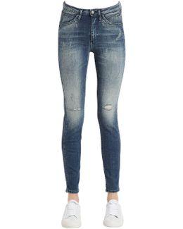 Destructed Sculpted Skinny Cotton Jeans