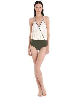 Camarat Squares & Olive Lycra Swimsuit