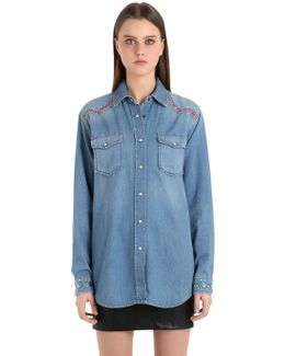 Cotton Denim Western Shirt Gigi Hadid