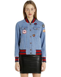 Patches Denim Bomber Jacket Gigi Hadid