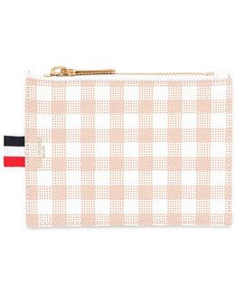 Small Gingham Printed Grained Coin Purse