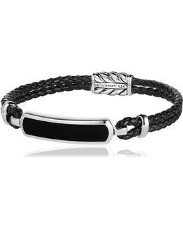 Bar Station Leather Silver Bracelet