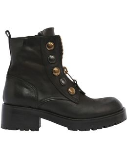 50mm Buttons & Zipper Leather Boots