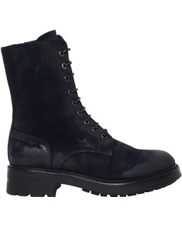 30mm Washed Suede Combat Boots