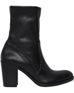 80mm Stretch Leather Ankle Boots
