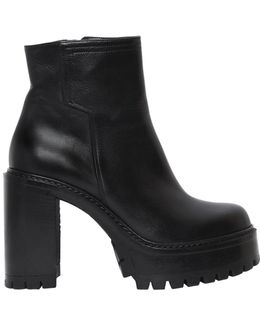 90mm Platform Leather Ankle Boots